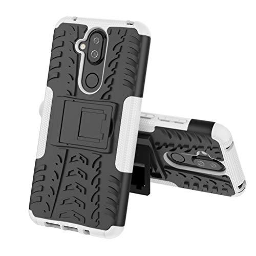 LUSHENG Capa para Nokia 8.1 (Nokia X7), anti-choque e antiderrapante TPU macio + policarbonato rígido proteção de alta eficiência, com suporte invisível – Branco