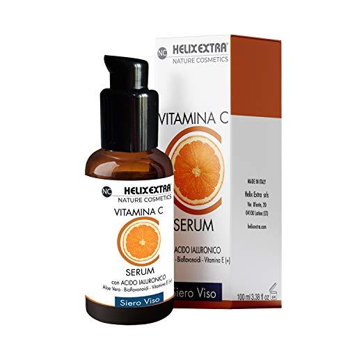 Miglior siero alla vitamina C con acido ialuronico + vitamina E GRANDE FORMATO 100ML aiuta a riparare i danni del sole, macchie scure, occhiaie, rughe e linee sottili