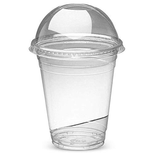 100 piezas Vasos de plástico con tapa,450 ml Vasos de batido de batido con tapa abovedada Batidos gruesos Vasos de helado, Ideal para bebidas heladas, Café frío