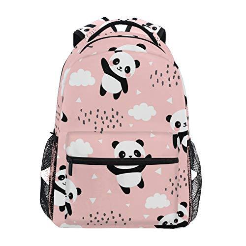 Qilmy Panda Backpack for Girls Student School Bookbag Laptop Computer Travel Daypack, Pink