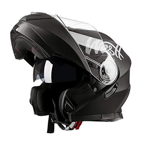 Westt - Casco Moto Modular Integral con Doble Visera Torque X, Para Motocicleta Scooter, Color Negro Mate, Talla S (55-56cm)