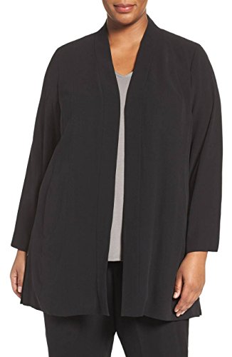 Eileen Fisher Womens Plus Georgette Open Front Open-Front Blazer Black 1X