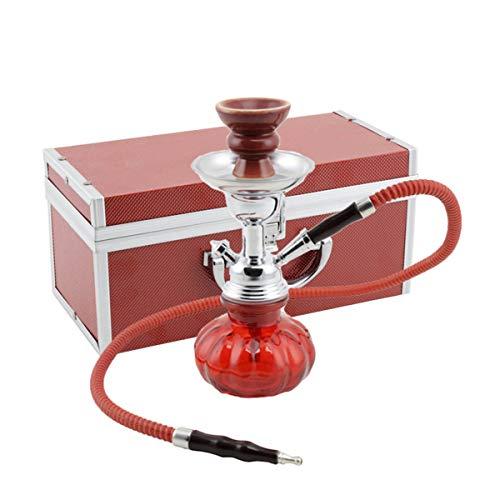 MADGROW. Cachimba MALETIN. Rojo. Shisha de 25cm. SÚPER Pack 10 Pastillas carbón + escobilla + sartén carbón + Pinzas con agujereador