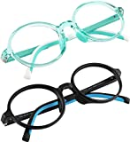 Kids Blue Light Blocking Glasses-Computer Video Gaming Eyeglasses for Boys and Girls – Cute Colorful Round Frames – Anti Eye Strain, Reduce Glare 2 Pack Case Included