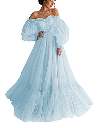 Off Shoulder Ball Gown Wedding Dress for Women Puffy Sleeve Princess Prom Dresses Tulle A Line Light Blue 24