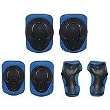 DXIA Protecciones para Niños Set, Skate Patinaje Bicicleta Deportivas Patinaje Kit de 6 Piezas Set, Proteccion de Muneca Guardias Rodilleras y Coderas para Skate Esqui Escalada Ciclismo (Azul, S)
