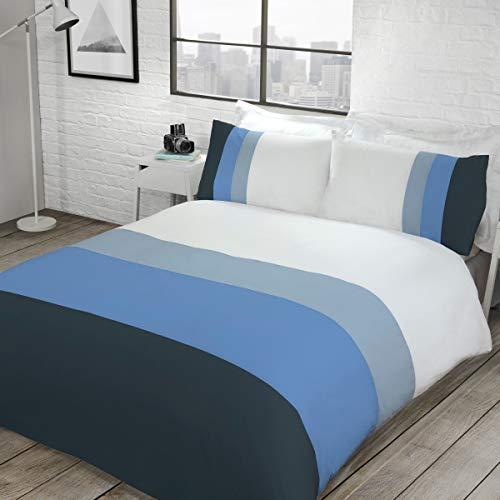 Sleepdown - Juego de Funda de edredón Reversible y de fácil Cuidado, Color Azul Marino con Fundas de Almohada, 200 cm x 200 cm, polialgodón