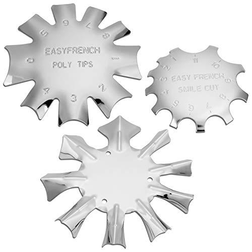 3 Stücke Edge Trimmer French Smile Line Werkzeug Set,MWOOT kantenschneider Metall Schablone Cutter für Acryl UV Polyacryl Gel Modellage