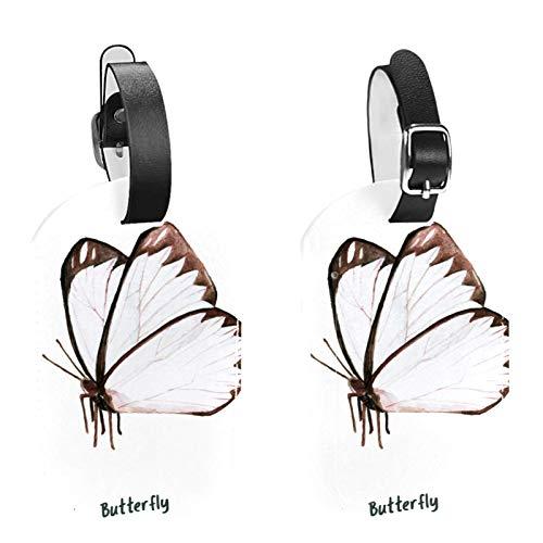 Paquete de 2 etiquetas de identificación de equipaje de cuero para hombres y mujeres, para bricolaje, maleta, bolsa de equipaje, etiqueta marrón acuarela mariposa-01