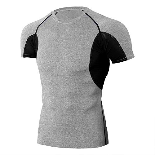 Cxypeng Baselayer Manches Courtes Maillot,Base Layers Hommes T-Shirts de Gymnastique pour Hommes, T-Shirt Manches Courtes Pro Skinny pour Homme-G_M,Running Tee Shirt Vetement de Fitness Gym