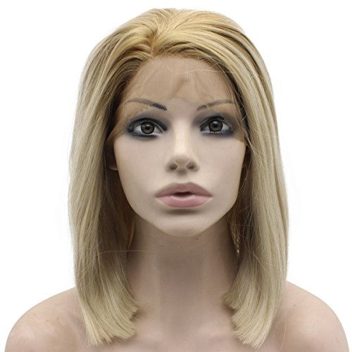 Mxangel Short Straight Dark Roots Ash Blonde Swiss Lace Front Bob Wig Synthetic