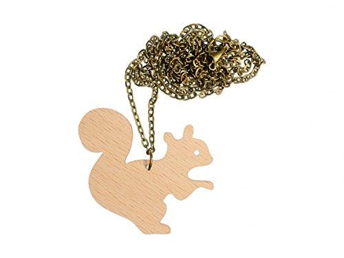 Miniblings Cadena Ardillas Collar Bosque de Madera Ardilla roedor Eichkater