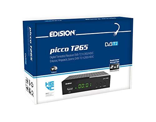 EDISION Picco T265 Full HD H.265 HEVC ricevitore terrestre FTA T2, (1x DVB-T2, USB, HDMI, SCART, S/PDIF, IR Auge, USB WiFi Support, 2in1