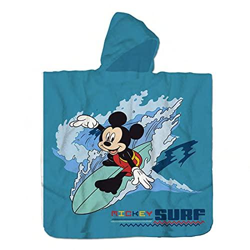 Toalla de Poncho para Playa y Piscina Infantil de Licencia Oficial (Mickey Mouse B)