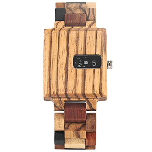 RWJFH Reloj de Madera Caja de Reloj de Madera Rectangular Números arábigos Reloj de Cuarzo con Esfera giratoria Banda de Madera Completa Relojes de Pulsera Masculinos Relojes Casuales para Hombres,