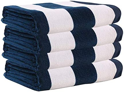 Exclusivo Mezcla 4 Pack 100 Cotton Cabana Navy Blue Striped Beach Pool Bath Towel 30 x 60 Soft product image