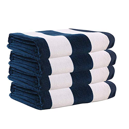 """Exclusivo Mezcla 4 Pack 100% Cotton Oversized Large Beach Towel,Pool Towel (Cabana Stripe,Navy Blue 35""""x70"""")—Soft, Quick Dry, Lightweight, Absorbent, and Plush"""