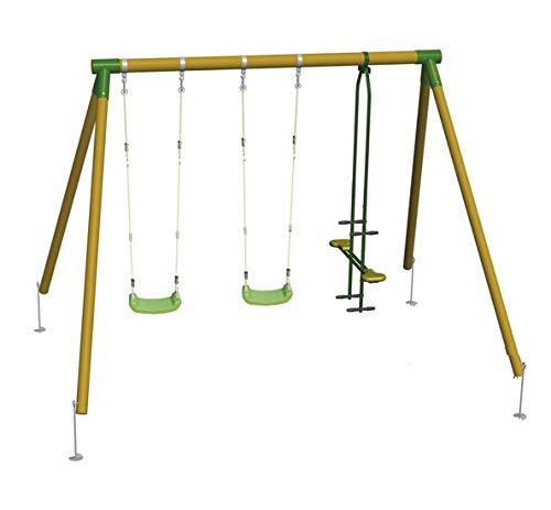 | MASGAMES | Columpio de madera ETNA | 2 asientos planos de plástico y cuerdas regulables + balancín de dos plazas | madera tratada | anclajes incluidos | uso doméstico |