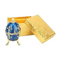 宝石小物箱、手塗りのエナメルを塗られたイースターエッグの宝石オーガナイザーリング、イヤリング用の光沢のあるラインストーン宝石小物箱