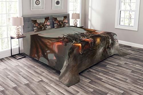 ABAKUHAUS Fantasy World Tagesdecke Set, Drachen Monster, Set mit Kissenbezügen Klare Farben, für Doppelbetten 220 x 220 cm, Braunen Grauen