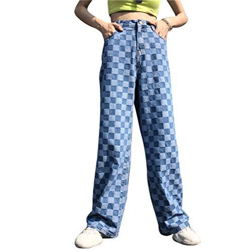 NOBRAND Pantalones vaqueros para mujer con patrón de cuadros de cintura alta, pierna ancha, rectos, pantalones vaqueros