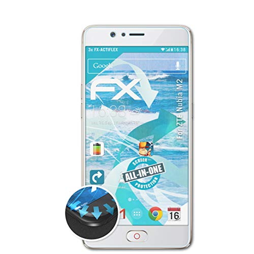 atFolix Schutzfolie kompatibel mit ZTE Nubia M2 Folie, ultraklare & Flexible FX Bildschirmschutzfolie (3X)