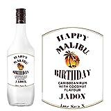 Malibu BL234 - Etiqueta personalizada para botella de ron de coco para cumpleaños