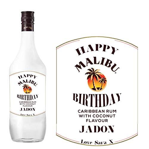 Etiqueta personalizada Malibu para botella de ron de coco para cumpleaños y amigos de familia BL234