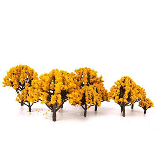 VOSAREA 20pcs Miniature Fairy Garden Artificial Tree Plant Ornament Fake Dollhouse Pots Tree Decor Moss Bonsai Scenery Trees Micro Landscape DIY Craft Garden Ornament Orange