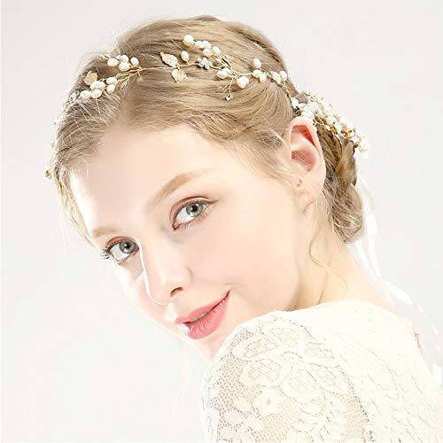 Diadema Boda para el pelo con forma de perla Hecha a mano con adornos para el cabello diadema dorada diadema Diademas con forma de hoja Boda para mujer Joyería Accesorios para el cabello
