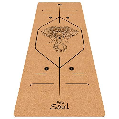 Fair Soul – Esterilla de yoga de goma natural y corcho con sistema de alineación y gráficos grabados con láser. Dimensiones: 183 x 66 cm. Incluye Yoga-Bag (Cork Elephant)