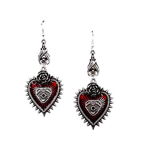 Yushu Pendientes de corazón rojo con diseño de Lolita estilo gótico, estilo vintage, estilo gótico, para Halloween, cosplay de máscaras, Año Nuevo, festivales, etc