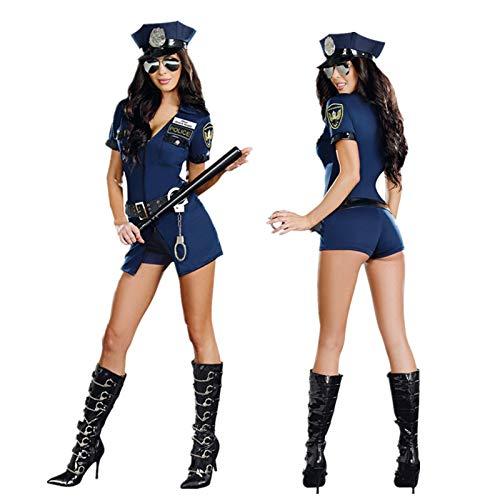 GYH Sexy Donna Cosplay Costume Travestimento Carnevale Poliziotto Polizia Vestito + Cappello +Cinture E Manette