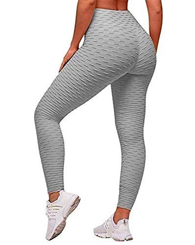 Uniquestyle Legging de Sport Femme Pantalon de Yoga Fitness Gym Pilates Taille Haute Gaine Gris L