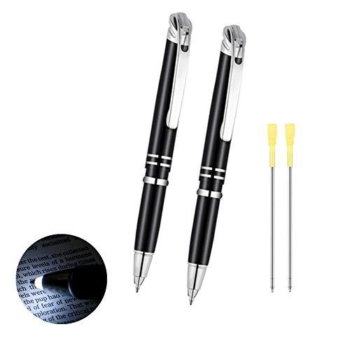 2 Stücke Helle Kugelschreiber, 3 in 1 Technische Leuchtkugelschreiber für Nachtschreiben, LED Leuchtstift zum Schreiben im Dunkeln Geschenk für Weihnachten Neujahr