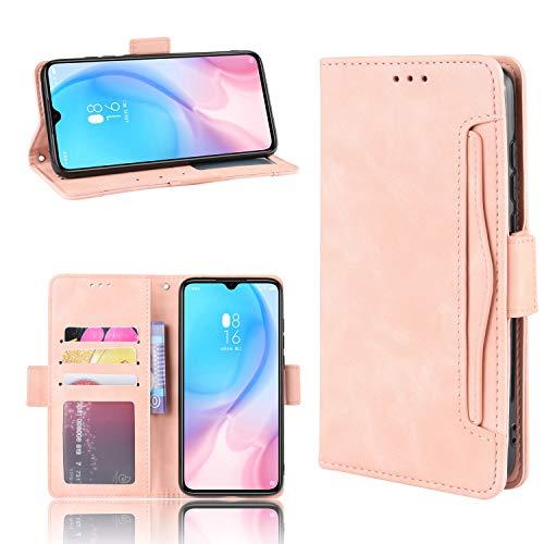 LODROC Xiaomi Mi 9SE Hülle, TPU Lederhülle Magnetische Schutzhülle [Kartenfach] [Standfunktion], Stoßfeste Tasche Kompatibel für Xiaomi Mi 9 SE - LOBYU0200920 Rosa