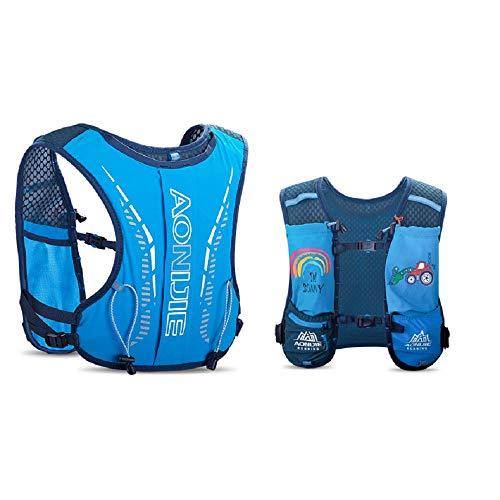 AONIJIE Mochila de hidratación para niños, de 2,5 l, con bolsa de agua de 750 ml, para senderismo, bicicleta, escalada