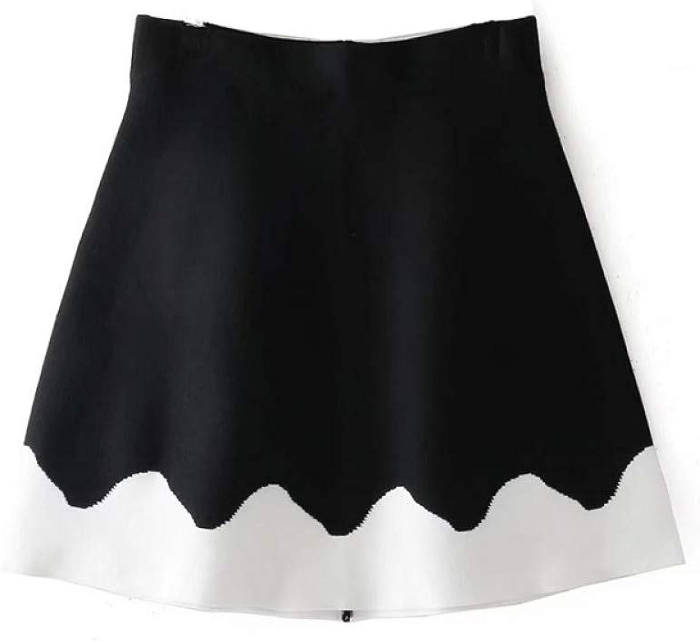 FSDFASS Skirt Spring Mini Skirts Aline Slim Black and White color Block Skirt Ladies Elastic Skirts