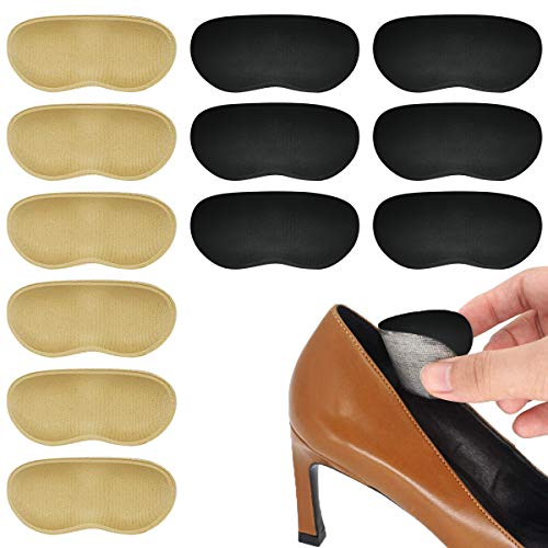 Heel Grips for Men and Women, Self-Adhesive Heel Cushion Inserts for Loose Shoes - Heel Pain Relief Bunion Callus Blisters(6 Pairs)