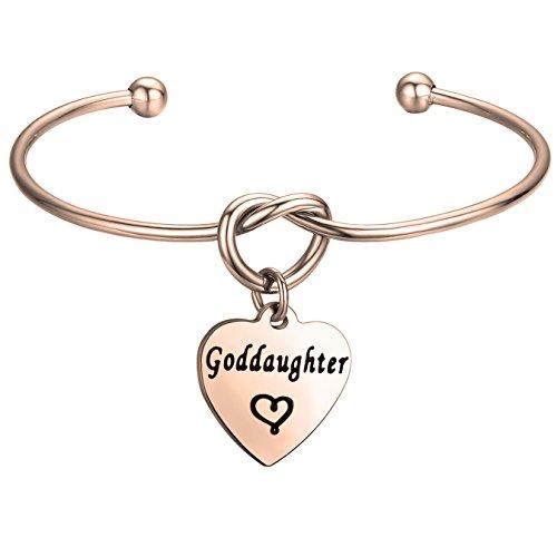 FEELMEM Godmother Bangle Bracelet,Goddaughter Bangle Bracelet,Perfect Gift for Godmothers/Goddaughters (goddaughter charm-Rose gold)