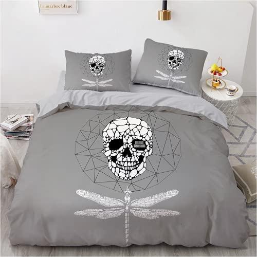QWAS Ropa de cama abstracta con calavera, ropa de cama infantil, funda nórdica para niños y niñas (L4,200 x 200 cm + 80 x 80 cm x 2).