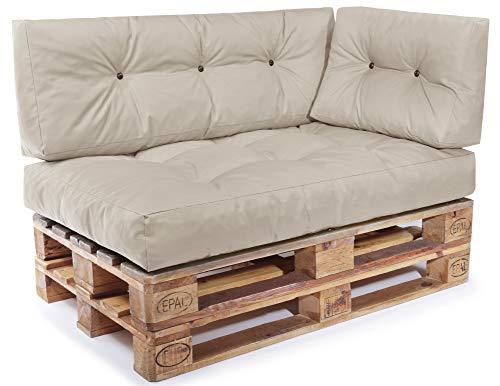 Easysitz Palettenkissen Set Palettensofa Palettenpolster Palettenauflagen Sofa Kissen Indoor Outdoor Gesteppt für 120 x 80 cm Europaletten (Set 3: Sitzkissen + Rückenkissen + Seitenkissen - Creme)