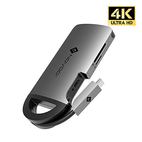 NOVOO Hub USB C - 8 en 1 Adaptador USB C con USB 3.0 * 3, HDMI 4K, Gigabit Ethernet, 100W Power Delivery, Lector de Tarjeta SD/TF, Hub USB C para Macbook Pro, Air, iPad Pro, XPS, USB C Portátiles