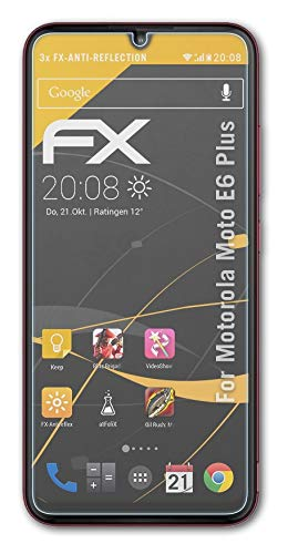 atFolix Panzerfolie kompatibel mit Motorola Moto E6 Plus Schutzfolie, entspiegelnde & stoßdämpfende FX Folie (3X)