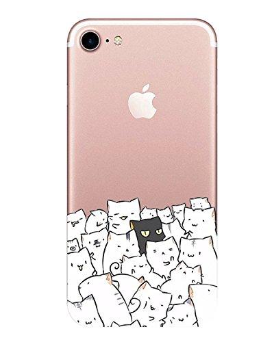 Caler Funda iPhone 7,Carcasa iPhone 8 Case, Suave TPU Gel Silicona Ultra-Delgado Ligera Anti-rasguños Protección Patrones Populares Carcasa para Apple iPhone 7/8 (Gatos)