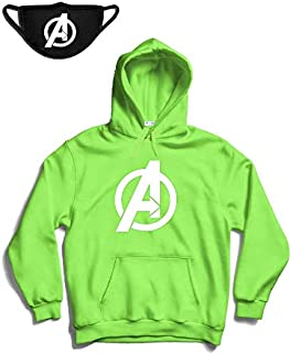 THE SV STYLE Unisex Hoodie with Avenger Print and Free Reusable FACE MASK/Printed Hoodie/Hoodie for Men & Women/Warm Hoodie/Unisex Hoodie