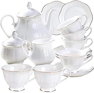 GUANGYANG GY Porcelain Coffee Set and Tea Cups - 15 PCS 7 OZ Golden Wavy Edge White New Bone China Cups and Saucers for 6 with Teapot Sugar Bowl and Creamer Pitcher