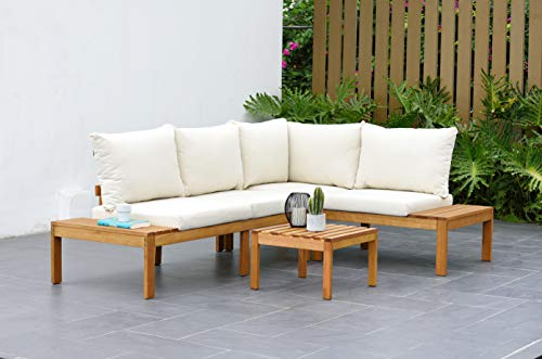 Amazonia Queens Patio Sectional Set | Teak Finish and Weather Resistant Off-White Cushions| Durable and Ideal for Outdoors