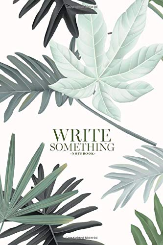Notebook - Write something: Botanical, various green leaves on light red, pastel vintage notebook, Daily Journal, Composition Book Journal, College Ruled Paper, 6 x 9 inches (100sheets)
