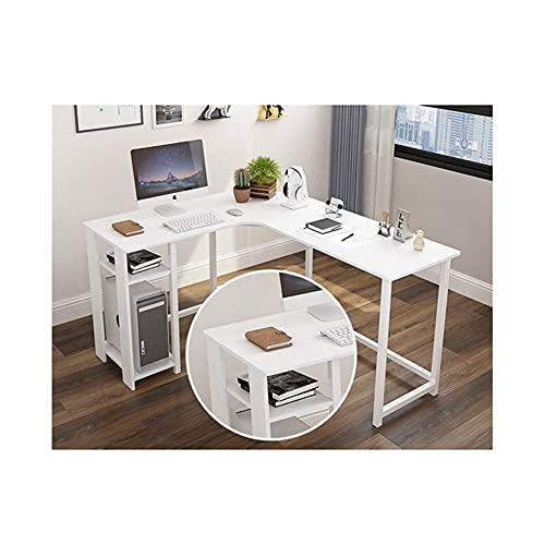 LYLY Escritorio de esquina moderno en forma de L para el hogar, oficina, escritorio, escritorio multipersona, para el hogar, estudio, estación de trabajo (color: blanco)